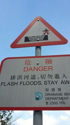 Flash floods sign. New Territories, Hong Kong.