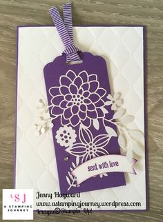 Another Delightfully Detailed Laser-Cut DSP card or tag or both. Using the wonderful new Stampin' Up! colour Gorgeous Grape. Making Greeting Cards, Hand Made Greeting Cards, Paper Cutting, Card Tags, Gift Tags, Laser Cut Paper, Specialty Paper, Laser Cutter Projects, Stampin Up Catalog