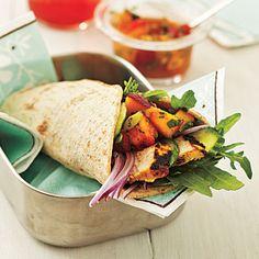 Curry Chicken Wraps with Nectarine Chutney Recipe   CookingLight.com
