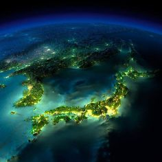 Japan by night, picture taken by the NASA