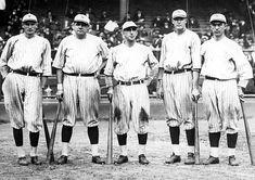 "Murderers' Row, New York Yankees, 1927 (l-R) Wally Pipp, Babe Ruth, Roger Peckinpaugh, Bob Meusel and Frank ""Homerun"" Baker"