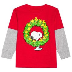 Peanuts Toddler Boys' Woodstock Wreath Twofer T-Shirt - Heather Grey 3T, Toddler Boy's, Red