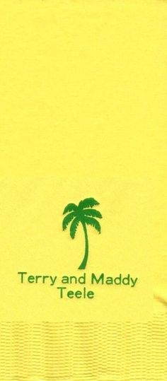 PALM TREE LOGO 50 Personalized printed DINNER HAND TOWEL FOLD napkins  #PartyFavorsPlus