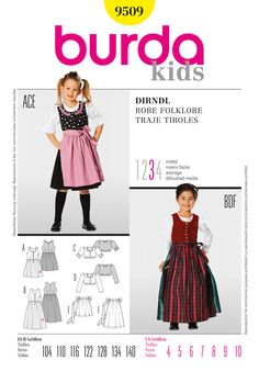 B9509 Burda Style, Dirndl Dress | Chic dirndl in two lengths, combined with two fabrics and matching aprons. The dirndl blouse is available wi...