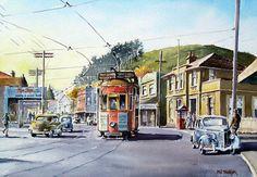 Phil Dickson - artist based in Lower Hutt Valley, Wellington, New Zealand Bus Art, Wellington New Zealand, New Zealand Art, Kiwiana, Art Academy, Art Club, Community Art, Public Transport, Watercolours