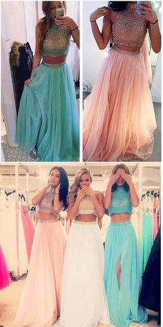 2 Piece Prom Dresses,Pink Prom Dresses,Prom Dresses,Long Prom Dresses,High Neck Prom Dresses,Heavy Beaded Prom Dresses,Two Piece Prom Dresses,2 Piece Evening Dresses,Pink Evening Dresses,Prom Gowns,Party Dresses