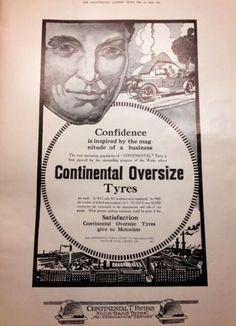 1914 Old Vtg Continental Oversize Tyres Auto Tires Original Art Print Model T