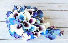 Calla viola blu orchidea dendrobium blu wedding matrimonio bouquet tiffany