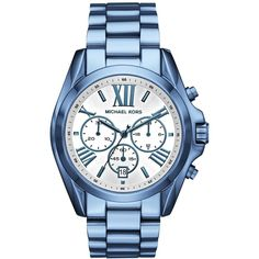 Michael Kors Women's Chronograph Bradshaw Ocean Blue Stainless Steel... ($250) ❤ liked on Polyvore featuring jewelry, watches, blue, stainless steel watch bracelet, sports watches, sport watches, michael kors jewelry and chronograph watches