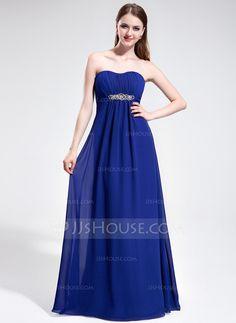 Prom Dresses - $138.99 - Empire Sweetheart Sweep Train Chiffon Prom Dress With Ruffle Beading (017025595) http://jjshouse.com/Empire-Sweetheart-Sweep-Train-Chiffon-Prom-Dress-With-Ruffle-Beading-017025595-g25595