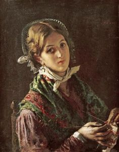 Mose Bianchi - A Woman Knitting - art prints and posters. I love how annoyed she…
