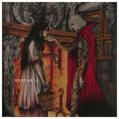 Manon and Elide - throne of glass colouring book - coloured by sendaria