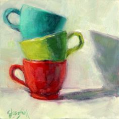 Colorful cups - 6 in x 6 in - oil painting, kitchen art, coffee