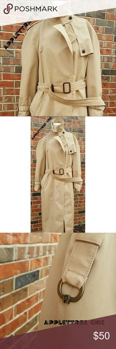 CLASSIC VINTAGE Etienne Aigner all weather trench CLASSIC VINTAGE etienne aigner all weather trench coat tan with burgandy trim authentic aigner hardware with button detail belt included perfect for nearly every outfit in every season  #classic #vintage #etienneaigner #aigner #allweather #trenchcoat #coat #spring #fall #allseason #tan #style #fashion #applettreechic Etienne Aigner Jackets & Coats Trench Coats