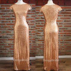 Rose Gold Modest Bridesmaid DressRose Gold Sequins von DesignBridal
