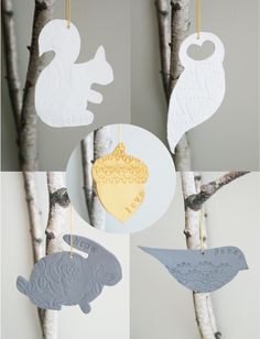 Woodland Clay Ornament with Lace Imprint: Choice of Squirrel, Bird, Owl, Rabbit, or Acorn. $9.00, via Etsy.