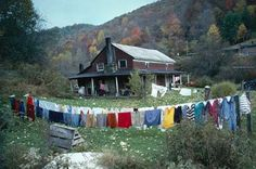 colorful laundry lines Laundry Lines, Laundry Art, Smelly Laundry, Smelly Towels, Laundry Drying, Appalachian People, Appalachian Mountains, Country Life, Country Living