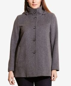 Lauren Ralph Lauren Plus Size Single-Breasted Pea Coat, Only at Macy's - Grey 3X