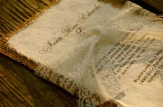 Pre Made Lace and Burlap Wedding Invitation by InvitationsByAlecia, $9.50