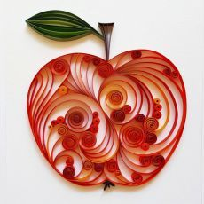 Apple Card Teacher Card Card for Teacher Big Apple by Gericards Arte Quilling, Paper Quilling Patterns, Origami And Quilling, Quilled Paper Art, Quilling Paper Craft, Toilet Paper Roll Crafts, Paper Crafts, Fall Crafts, Arts And Crafts