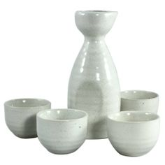 5 Piece Porcelain Japanese Sake Carafe & Shot Cups Set - Classic White