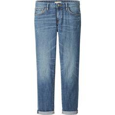 UNIQLO Women Slim Boyfriend Fit Ankle Length Jeans (13 CAD) ❤ liked on Polyvore featuring jeans, pants, bottoms, calças, blue, slim fit jeans, slim boyfriend jeans, faded jeans, slim blue jeans and slim fit blue jeans