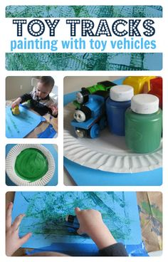 "Painting With Toy Vehicles.What little boy doesn't love to roll trucks, cars, trains around? I am planning to use this one with 3 yr. old Bryce. He is my ""charge"". I have been his nanny since he was 7 wks. Train Activities, Toddler Activities, Preschool Activities, Toddler Fun, Toddler Crafts, Preschool Crafts, Projects For Kids, Crafts For Kids, Transportation Theme"