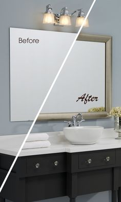 A MirrorMate frame in the Pemaquid style completes the bathroom update in style.