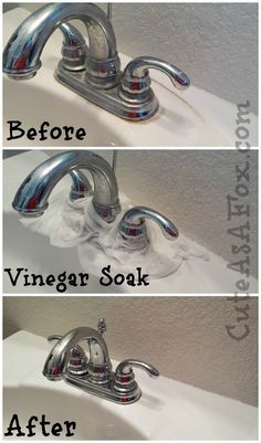 Get rid of hard water stains around your sink faucet by letting it sit with a vinegar-soaked paper towel. | 28 Ways To Make Your Bathroom Cleaner Than It's Ever Been