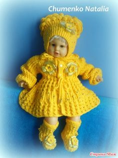 Knit Baby Dress, Knitted Baby Clothes, Girl Doll Clothes, Girl Dolls, Knitted Dolls, Baby Knitting Patterns, Cute Babies, Christmas Wreaths, Crochet Hats