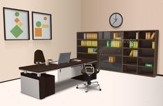 Realistic office interior with work desk chair and bookshelf 3d vector illustration. Editable EPS and Render in JPG format