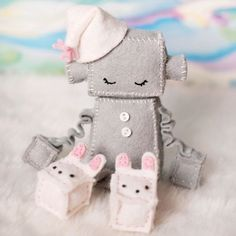Rag robot with bunny slippers.
