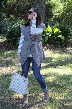 J.Crew stripes and grey swaeter via With Style and a Little Grace