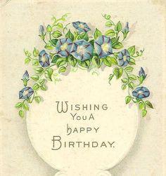 Blue Morning Glories on Vintage E Nash Birthday by TheOldBarnDoor, $4.00