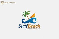 Surf Beach Logo by aniasmara on Creative Market Business Brochure, Business Card Logo, Swim Logo, Holiday Logo, Beach Logo, Hotel Logo, Print Fonts, Creative Sketches, Pencil Illustration