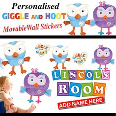 Personalised Giggle and Hoot Hootabelle MOVABLE Wall Stickers Movable Walls, All Wall, Free Gifts, Wall Stickers, Adhesive, Kids Rugs, Shop, Wall Clings, Wall Decals