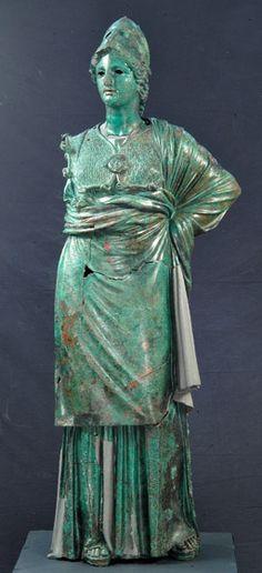 """Athena (""""Minerva of Arezzo""""), 300 - 270 BC; bronze and copper. (Museo Archeologico Nazionale, Firenze)."""