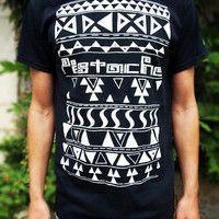 AZTEC PRINT T-SHIRT mens boys 80s retro tribal american indian top new black era hip hop clothing