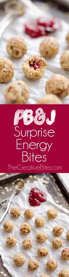 PB&J Surprise Energy Bites are a fun and healthy no bake snack with a peanut butter oat mixture and a surprise pop of strawberry jelly on the inside! #Healthy #NoBake #Snack #EnergyBite