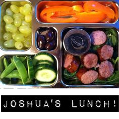 """""""Joshua's Lunchbox: Local pastured kielbasa with spicy mustard dipping sauce, orange bell pepper, organic grapes, sugar snap peas, cucumber, and TJ's dark choc covered almonds"""" #joshuaslunchbox #primalbliss #planetbox #justeatingrealfood"""