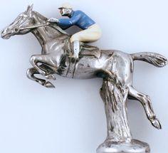"""Vintage English 'Blue Silks' Chrome Car Mascot"""