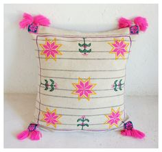One of a kind Wixárika/Huichol hand-embroidered wool pillow with hot pink pom poms