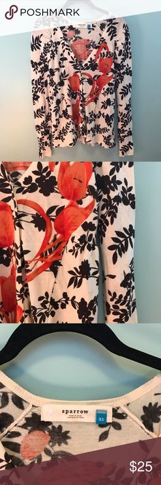 Sparrow Anthropologie Floral Cardigan The cutest cardigan from the Anthropologie brand Sparrow! In great condition. Super flattering peplum style hem on back. Anthropologie Sweaters Cardigans