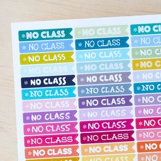 48 NO CLASS Flags -  Sticker Planner Perfect for Erin Condren / MAMBI Happy Planner by FasyShop on Etsy