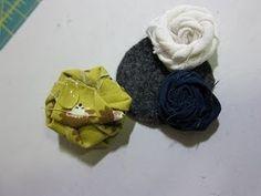 Scrap Fabric Rolled Rosette Barrettes