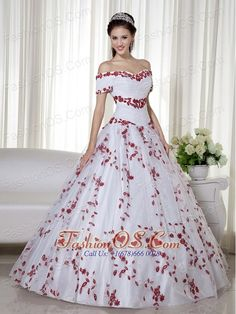 White and Red Ball Gown Off The Shoulder Floor-length Taffeta and Organza Embroidery Quinceanera Dress  http://www.fashionos.com    inexpensive quinceanera dress   quinceanera dress ready to ship  