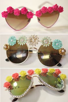 3 DIY tutorials for spring's cutest embellished eyewear! #DIY #SpringStyle