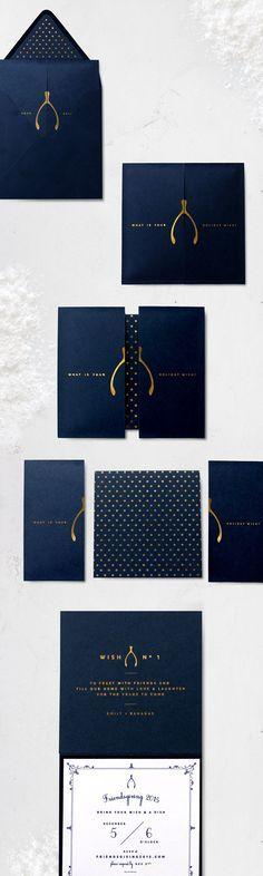 Navy, White & Gold Wishbone Invitation | Friendsgiving 2015 | Sugar & Gold
