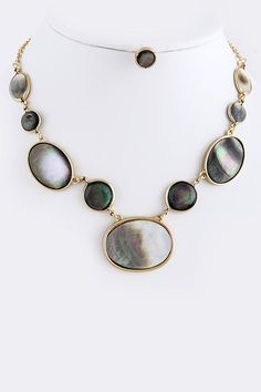 Blanche Necklace in Blue Mother of Pearl
