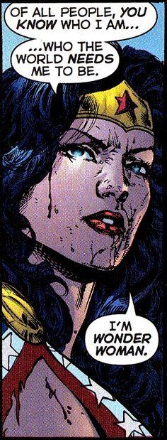 Infinite Crisis WW. I am who the world needs me to be. I'm Wonder Woman.